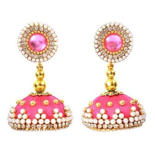 079fac022 Handmadewale Pink Ladies Beaded Designer Silk Thread Earrings, Shape:  Jhumki -Circle Shape