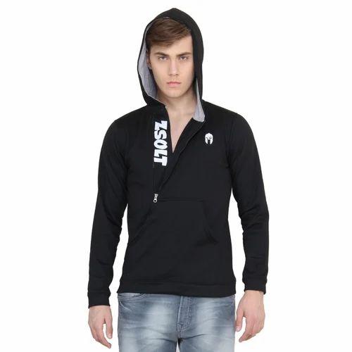 17bbb7fbac6855 Navy Blue And Black Cotton Linen Half Zip Hoodie With Kangaroo Pocket  Hoodies