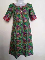 Ladies Kurti Printed Cotton Kurti A Line Kurti, Size: L, XL