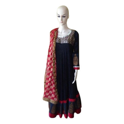 Blue & Red Embroidered Anarkali Suit