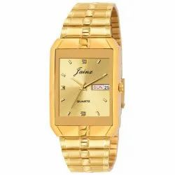 Men Golden Square Dial Day and Date Watches