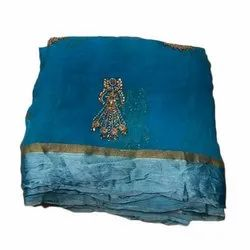 Blue Party Wear Cotton Chiffon Hand Work Saree with Blouse Piece