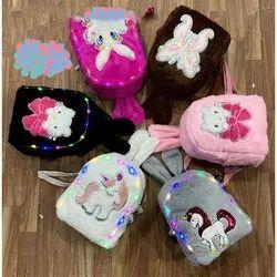 Unisex Multicolor Kids Printed Fur Bags