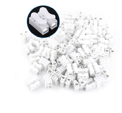 White 25pcs 10a 220v 2 Pin Push Quick Wire Cable Connector Wiring