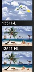 Ceramic Gloss 10x15 Digital Wall Beach With Coconut Tree Design Tiles, Thickness: 5-10 Mm, Size: 10*15 Inch