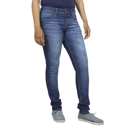 Ladies Indigo Plain Denim Jeans, Size: 30