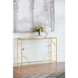 Aluminium High Class Console Table With Glass Top