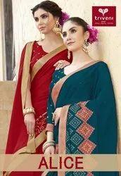 Triveni Present Alice Chines Chiffon Designer Fancy Saree