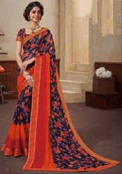 Navy Blue and Red Georgette Print Saree
