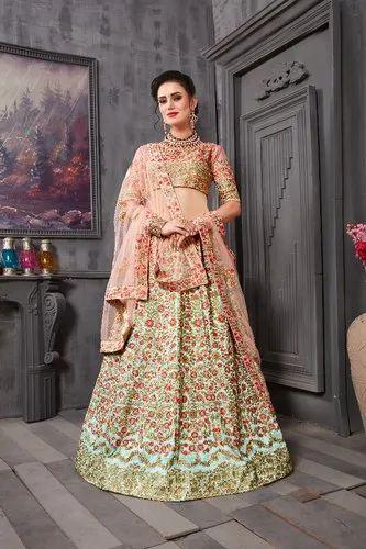 941fb5a66797 Green Kesar Collection Bridal Designer Lehenga Choli, Net ,pink, Rs ...