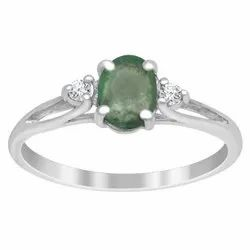 925 Sterling Silver 0.50 Ctw Emerald Zambian Gemstone Solitaire Accent Tiny Ring