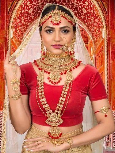 Dulhan Set Red Kundan Bridal Jewelry