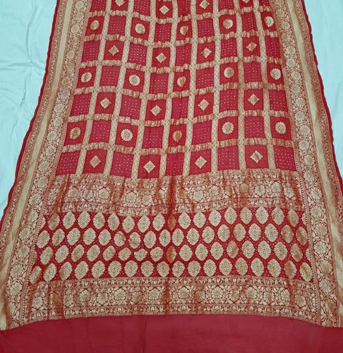 Zari work Bandhani silk saree, Hand Made, 6.3 m (with blouse piece)