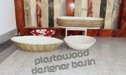 Plasto Wood Ceramic Resin Bathroom Designer Wash Basin