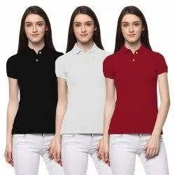 Aesthetic Apparels Half Sleeve Women Polo Red T-Shirt