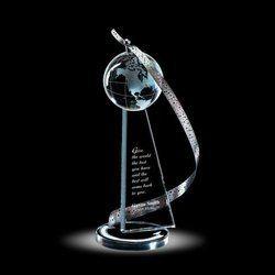 Designer Globe Crystal Trophy