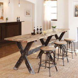 Rustic Green Wooden Cross Leg Bar Table Set