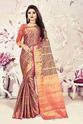 Party Wear Banarasi Silk Sarees with Blouse Piece