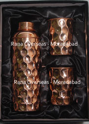 Copper Water Bottle With Two Glass Set in Gift Box