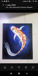 Canvas Black Koi Fish, Forever, Size: 10x12