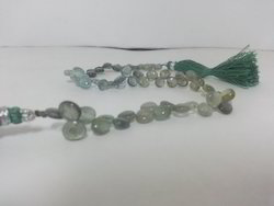 Natural Moss Aquamarine Smooth Plain Heart Briolette Beads