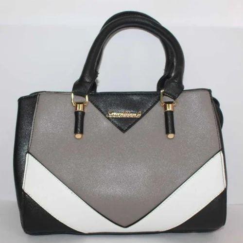 Black And Grey Plain Ladies Hand Bags 66a30cdb85dba