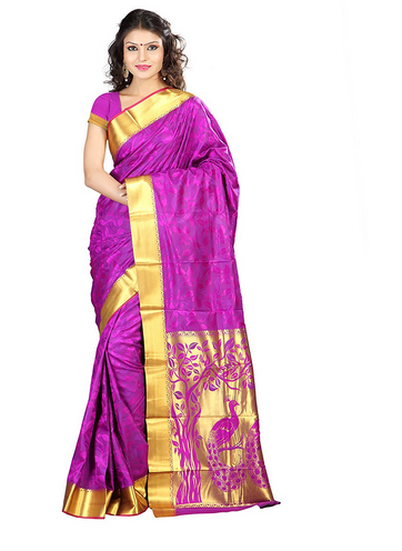 5fc9061602 JP7102PV Women's Art Silk Kanchipuram Saree (Purple) at Rs 1654 ...