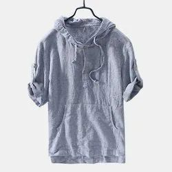 Cotton Men Grey Hooded T Shirt