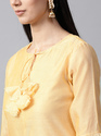 YELLOW SOLID KURTA WITH PRINTED SLEEVE