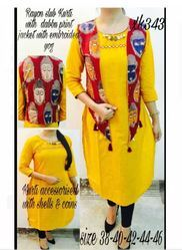 Yellow Cotton Kurti With Jacket