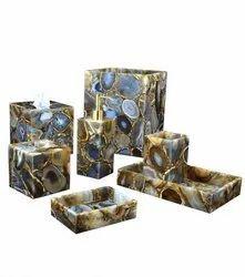 Modern Diamond Polish Agate Bath Set