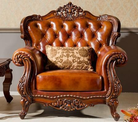 Hand Carving Wood Leather Sofa Chair