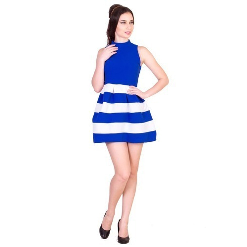 Women Blue And White Short Dress 768452c7be20