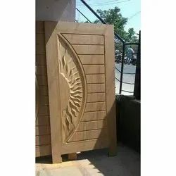 Half Sun Design Teak Wood Door