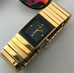 Men Rectangular Rado Gold Watch, For Personal Use