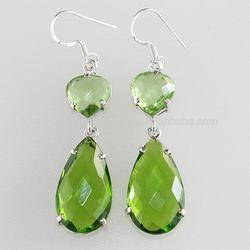 Long Silver Earrings In Peridot