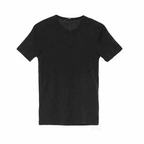 4e8aa44aa0c2 Black Men Round Neck Plain T Shirt