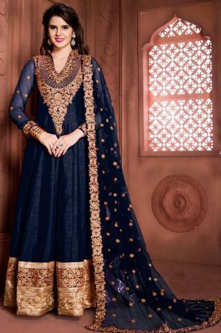 a2ab38e61b Embroidered Banglori Silk Anarkali Churidar Suit, Anarkali, Anarkali ...
