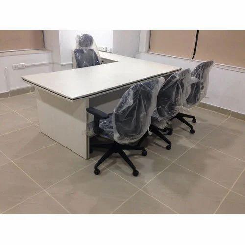 L Shape Wooden Designer Executive Table, De Mark Office System | ID ...