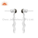 Black Onyx Gemstone Sterling Fine Silver Wavy Disc Drop Earrings Jewelry