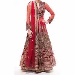 Red Wedding Wear Ladies Designer Lacha, Dupatta Fabric: Net, Packaging Type: Packet
