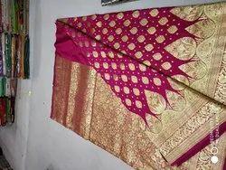 Sky Blue Weaving Banarasi Silk Saree with 6.3 m Blouse Piece