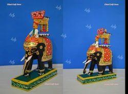Kondapalli Toys Wood Royal Ambari Small Showpiece