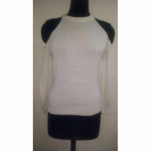 b07941ae7ddae Off White Ladies Winters Cold Shoulder Woolen Top