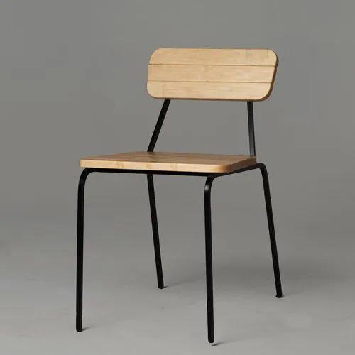 Hemangi Interior Stainless Steel Wooden Cafe Chair