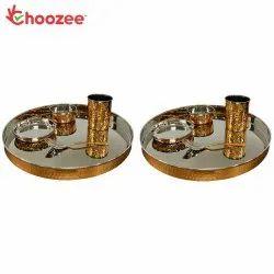 Choozee - Copper Thali Set of 2 (10 Pcs) of Thali, Bowl, Spoon & Glass