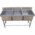 Triple Bowl Pot Wash Sink