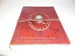 Genuine Leather Handmade Journal with Stone