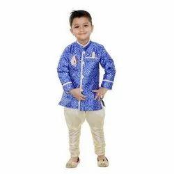 Party Wear Digital Print Kids Ethnic Western Sherwani