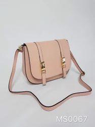 Plain Light Pink LSB09 Women Pure Leather Shoulder Messenger Bag, Size: 10x7x4 Inch